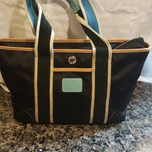 Coach microfiber black tan blue purse